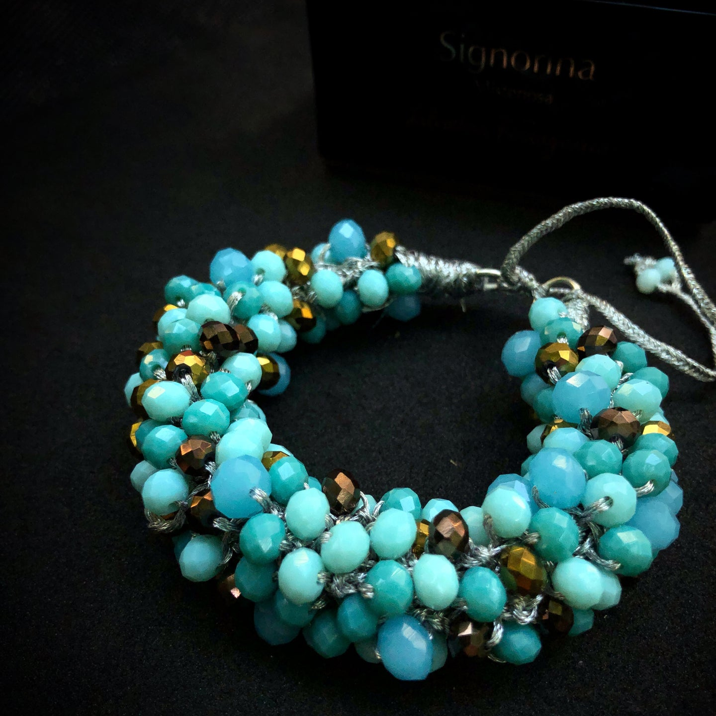 LIDIA Braided Bracelet | Turquoise + gold + silver
