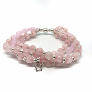 GRACE Bracelet | Rose quartz + silver
