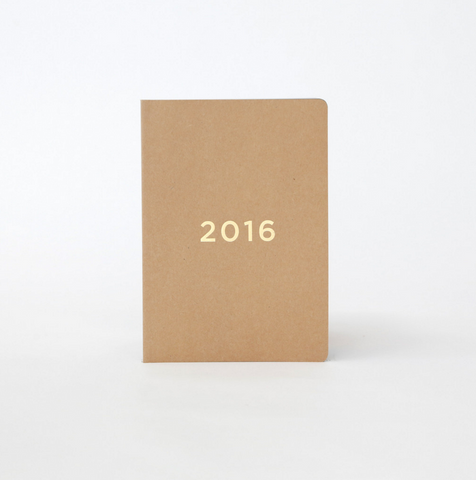 40% OFF - Soft Cover Diary 2016 - Kraft/Gold
