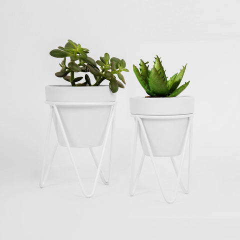 Set of White Hair Pin Tabletop Pot Stands