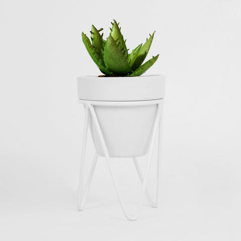 White Hair Pin Pot Stand - Small Tabletop