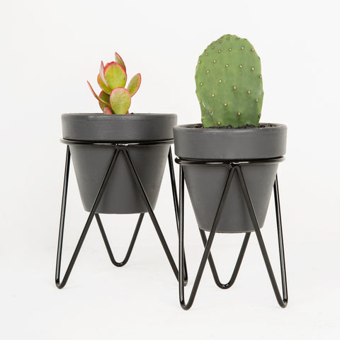 Set of Black Hair Pin Tabletop Pot Stands