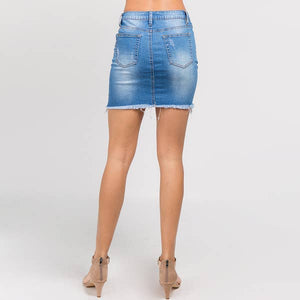 Kelsies Distressed Denim Skirt