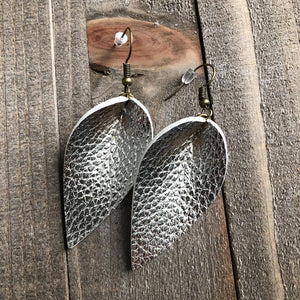 Light Gold Folded Leather Earrings