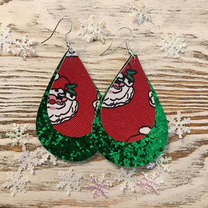 Holiday Two Layer Green Glitter Santa Earrings