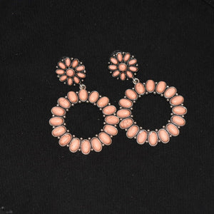 Coral Beaded Circular Earrings