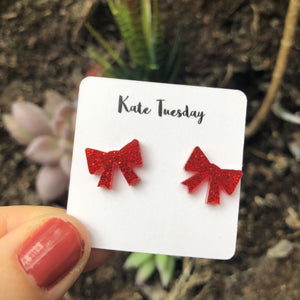 Red Bow Acrylic Earrings