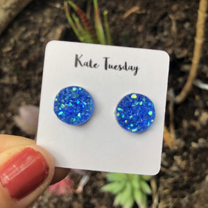 Raw 12mm Blue Druzy Earrings