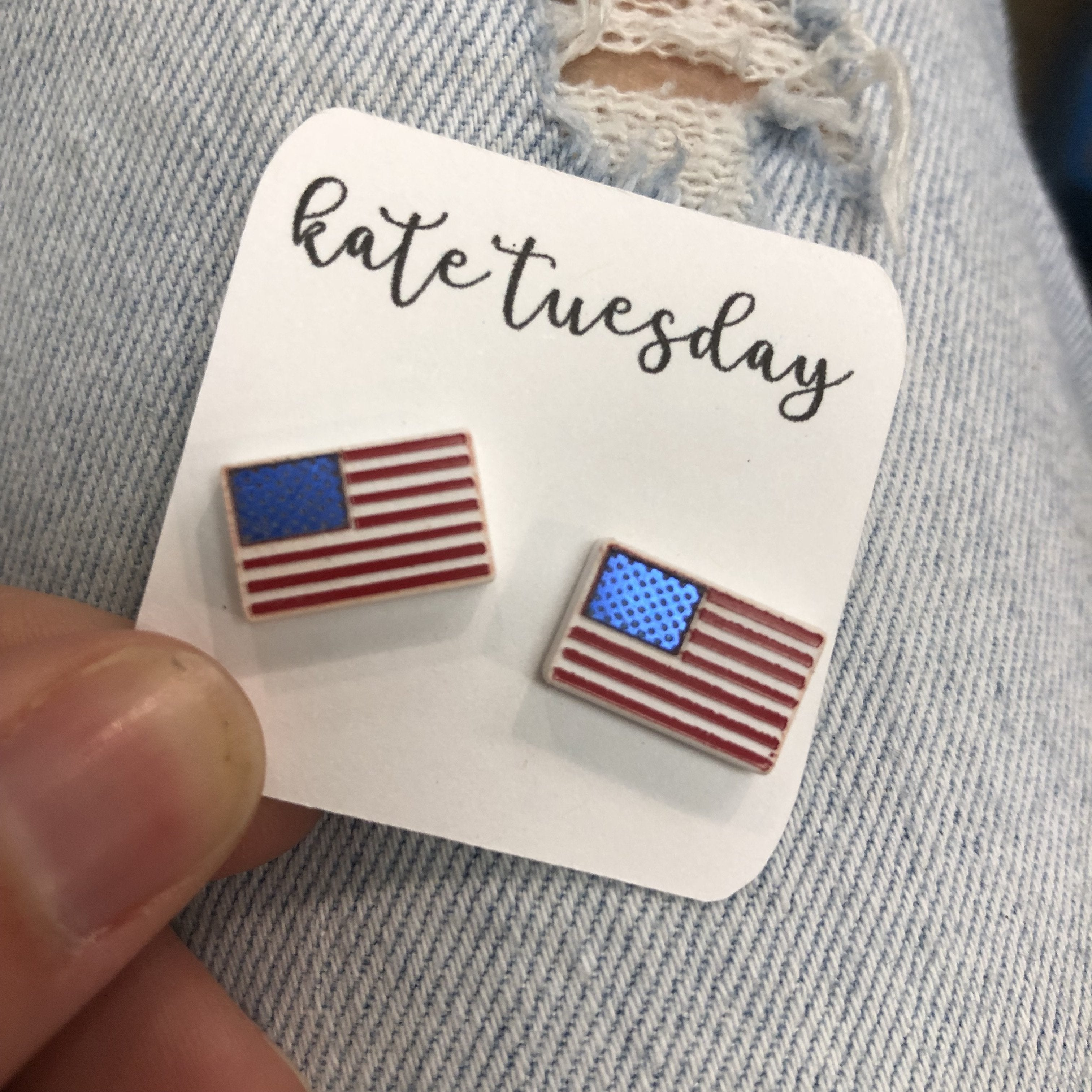 American Flag Glittery Acrylic Earrings 4th July