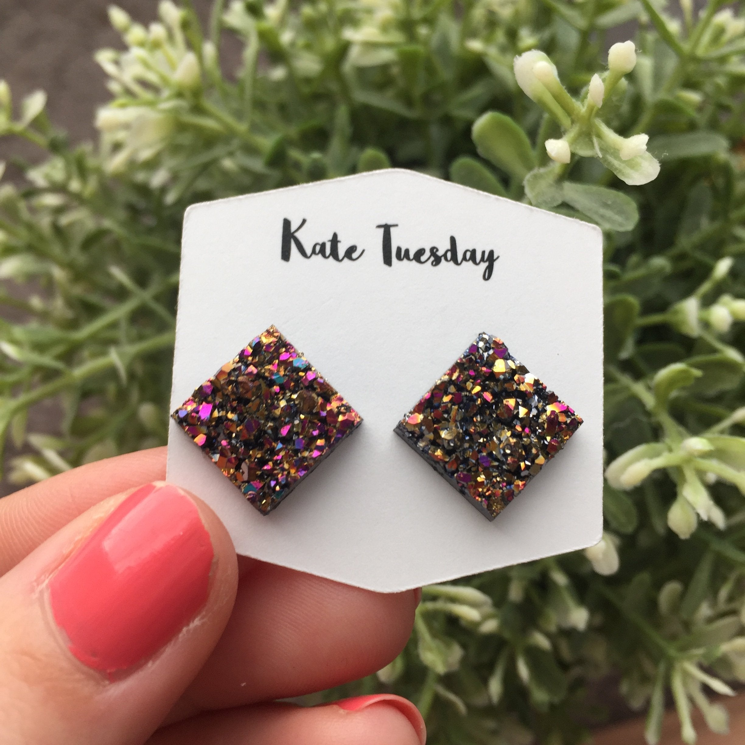 Thick Balm Bay Square Druzy Earrings