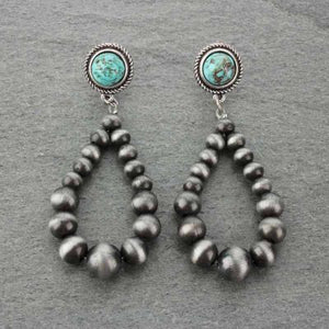 Turquoise & Grey Navajo Pearl Earrings