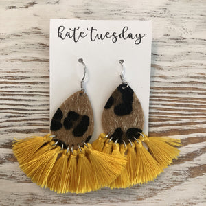Gold Fall Cheetah Tassel Earrings