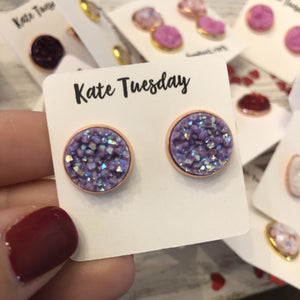 Matte Purple Sparkly 12mm Druzy Earrings