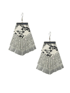 Silver Three Layer Faux Leather Glitter Cheetah Earrings