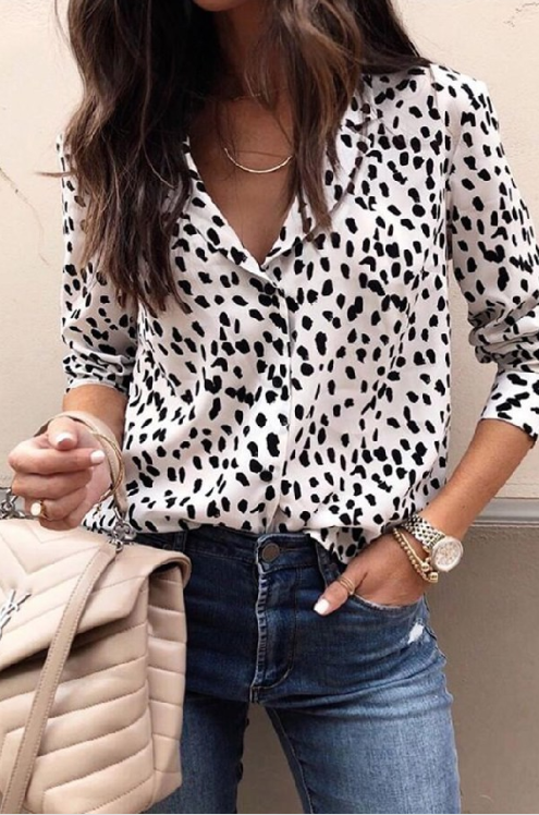White Leopard Blouse