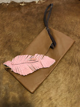 Load image into Gallery viewer, Pink Feather & Brown Clutch