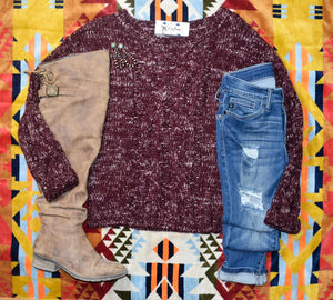 KC Speckle Sweater - Maroon