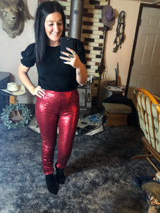 Red Sequin Skinnies