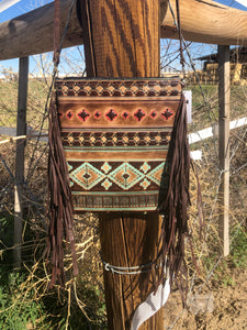 Navajo Print Leather Crossbody