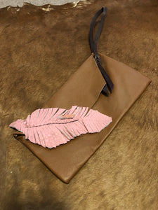 Pink Feather & Brown Clutch