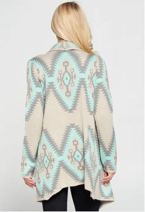 Mint Tribal Cardigan