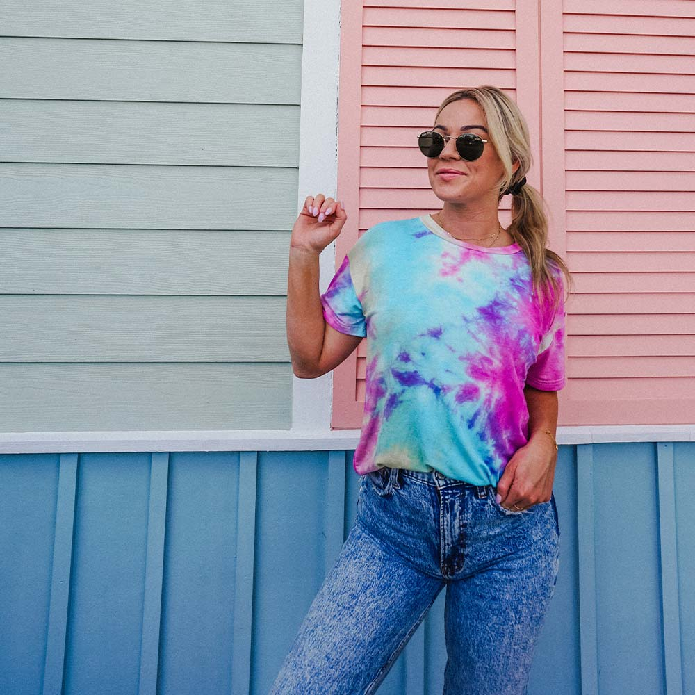 Blue, Pink, and Yellow Wholesale Tie Dye T-Shirt