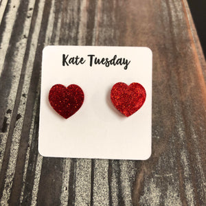 Red Glittery Heart Stud Earrings