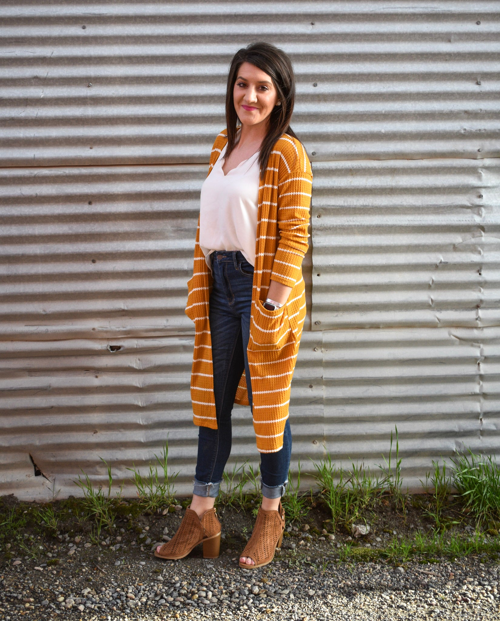 Striped Mustard Cardigan