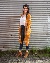 Load image into Gallery viewer, Striped Mustard Cardigan