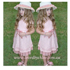 Gracie Lace Dress  (Champagne / Pink )