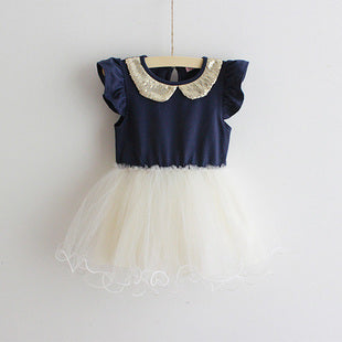 Gold Peterpan Collar Tutu Dress