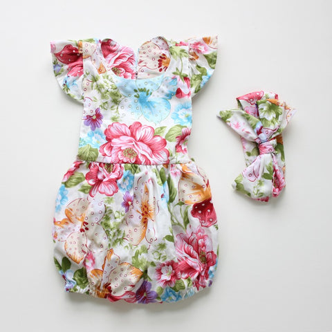 Elise Floral Romper with headband