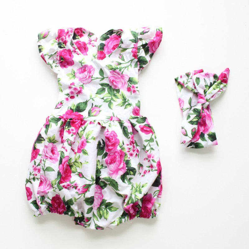 Camellia Floral Romper with headband
