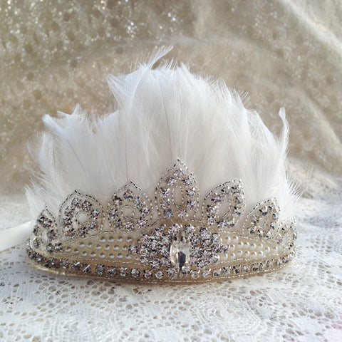 Princess Pearl Beaded Tiara Crown Headpiece