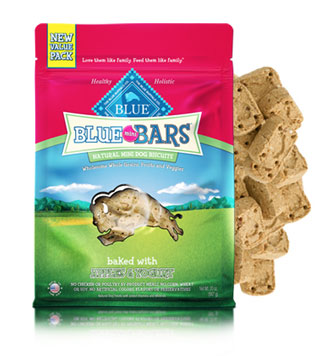 Blue Buffalo Value Size Blue Mini Bars Apple and Yogurt Natural Dog Treats 20oz Bag