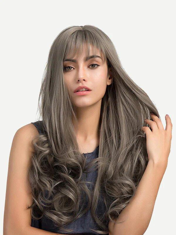 Wave Wig With Bangs-Grey