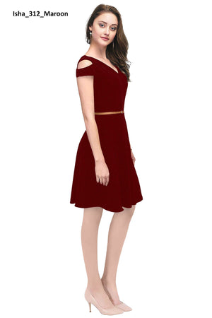 Cold Shoulder Isha Maroon Dress