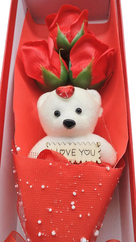 Image of 24K Gold Rose + Red Rose Bouquet With Teddy Bear (I Love You) Combo Gift Box