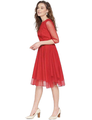 A-line Dresses for Women Skater Dress - Red
