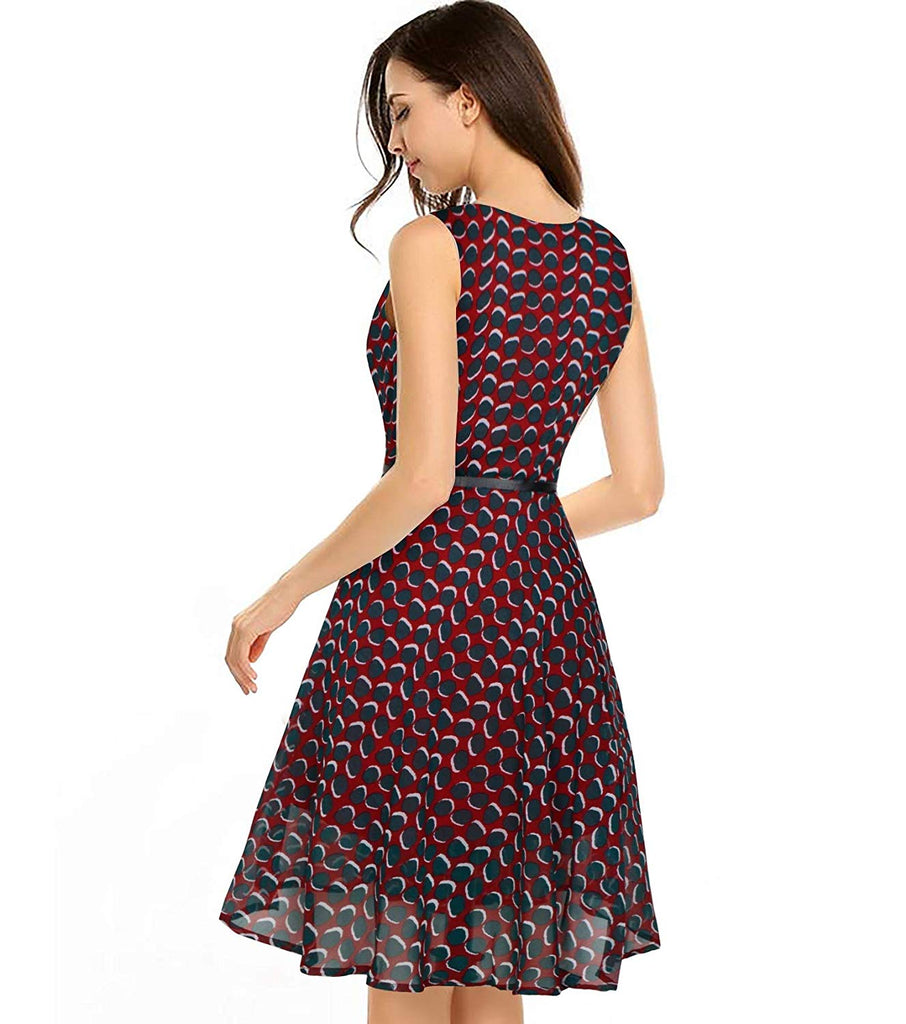 Georgette Full Stitched Western Dress Red
