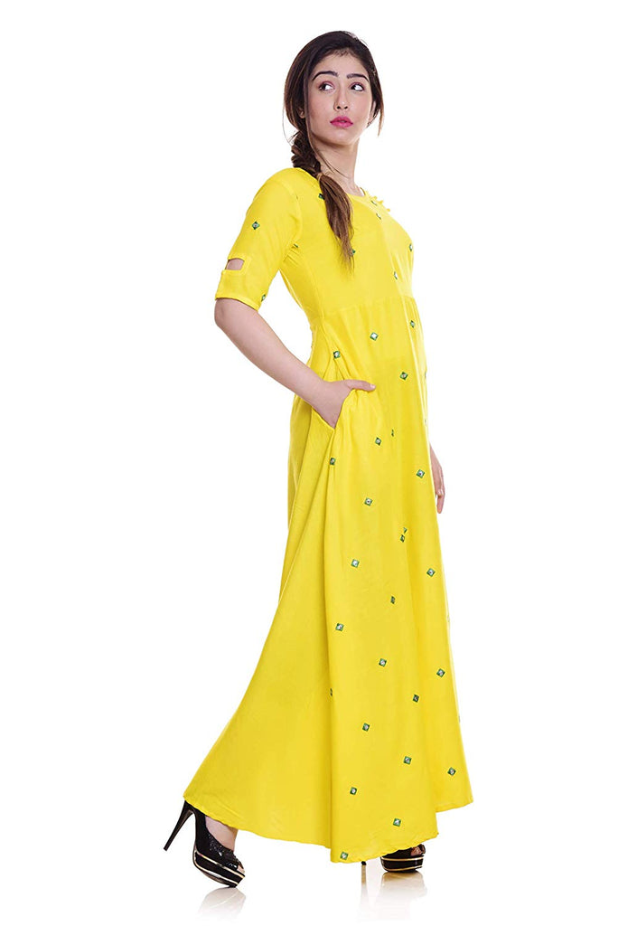 Long Embroidered Kurti, Yellow