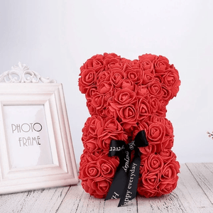 THE LUXURY ROSE TEDDY BEAR + 24K Gold Love Rose Stand