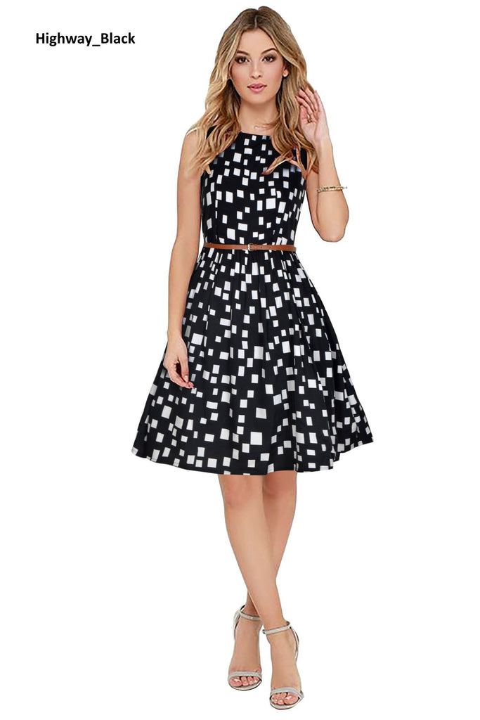 Highway Black Midi Skater Dress