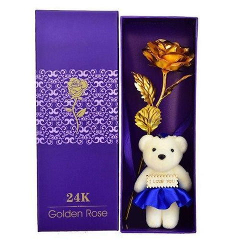 Image of 24K Gold Rose With Teddy Bear (I Love You) Gift Box