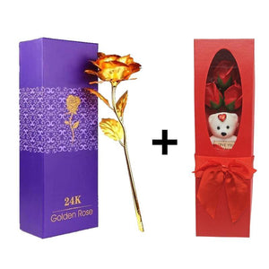 24K Gold Rose + Red Rose Bouquet With Teddy Bear (I Love You) Combo Gift Box