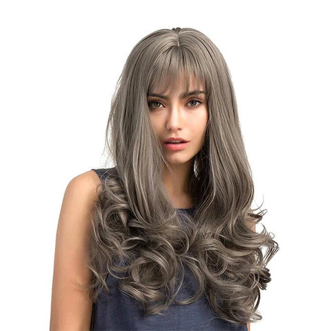 Image of Wave Wig With Bangs-Grey