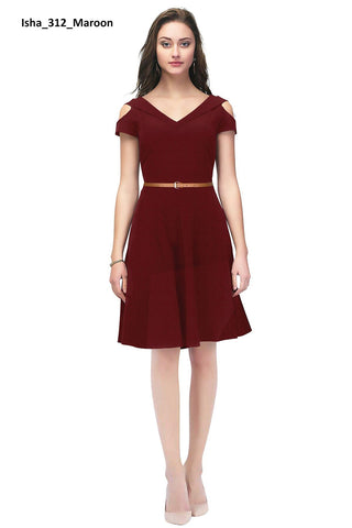 Image of Cold Shoulder Isha Maroon Dress