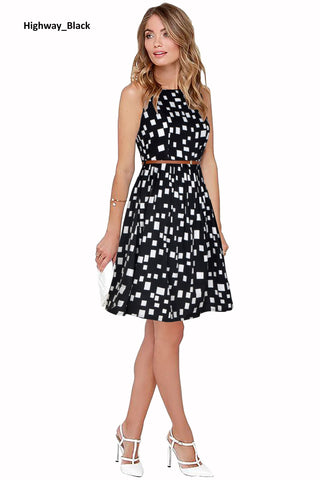 Image of Highway Black Midi Skater Dress