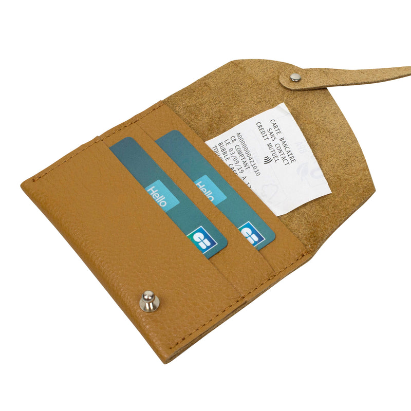 Leather credit card holder with a link in neutral color