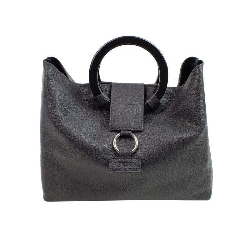 Black leather tote bag with wooden round handles on a white background